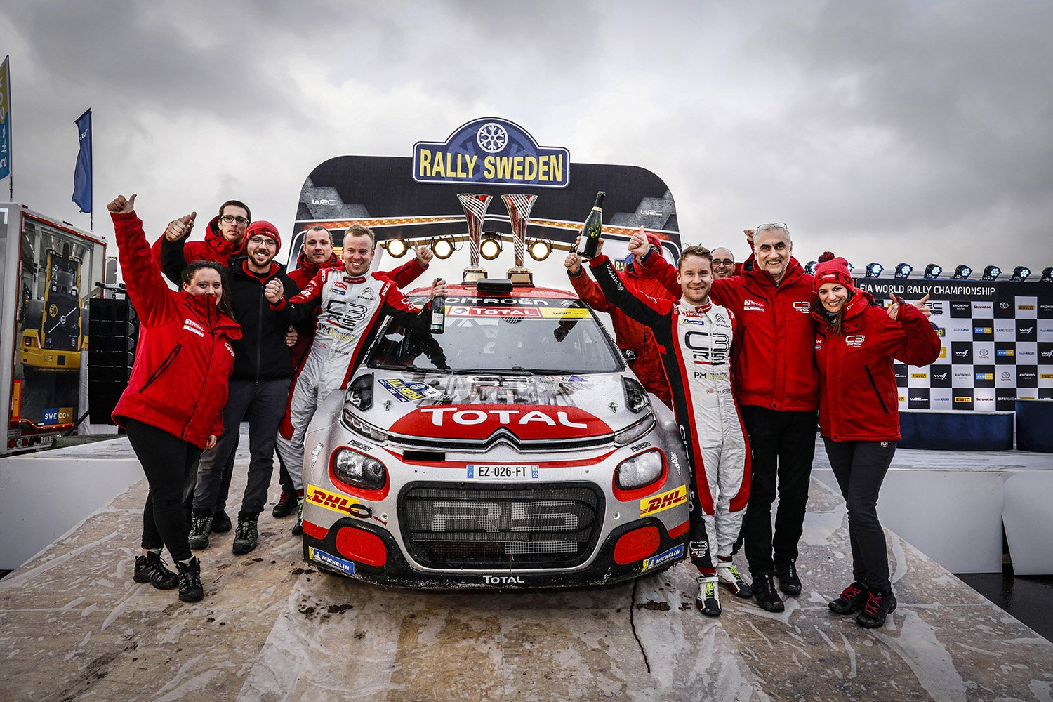 20 OSTBERG Mads (NOR), ERIKSEN Torstein (NOR), Citroen C3 R5, PH Sport WRC 2, ambiance vainqueur, winner podium ambiance during the 2020 Rally Sweden, 2nd leg of the 2020 FIA WRC Championaship from February 13 to 16, 2020 at Torsby, Varmland in Sweden