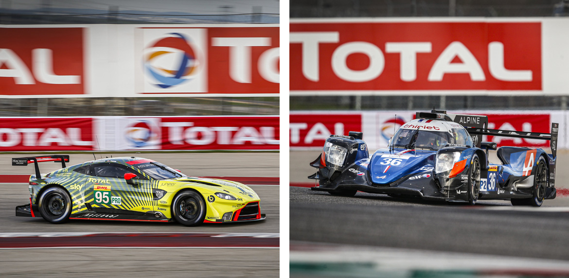36 LAURENT Thomas (fra), NEGRAO Andre (bra), RAGUES Pierre (fra), Alpine A470 Gibson team Signatech Alpine Elf / 95 SORENSEN Marco (dnk), THIIM Nicki (dnk), Aston Martin Vantage AMR team Aston Martin racing, action during the Lone Star Le Mans 2020, 6 Hours of Circuit of The Americas, fifth round of the 2020 FIA World Endurance Championship season from February 21 to 23 at Austin, USA