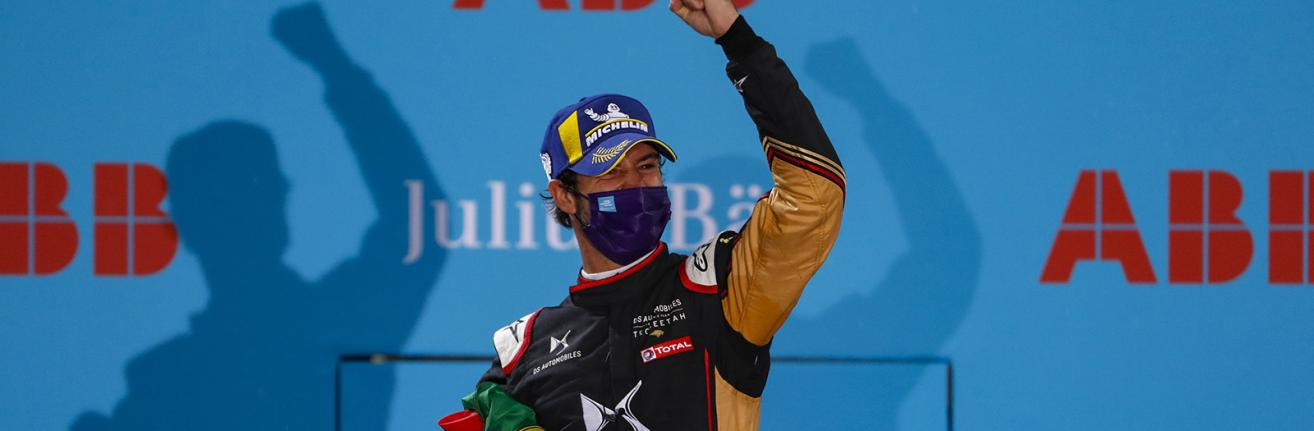 BERLIN TEMPELHOF AIRPORT, GERMANY - AUGUST 09: Antonio Félix da Costa (PRT), DS Techeetah, 2nd position during the Berlin ePrix IV at Berlin Tempelhof Airport on Sunday August 09, 2020 in Berlin, Germany.